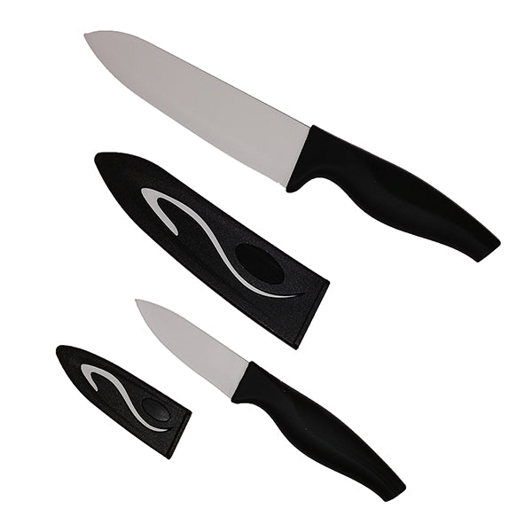 2pc ceramic knife set with pouches in black window box