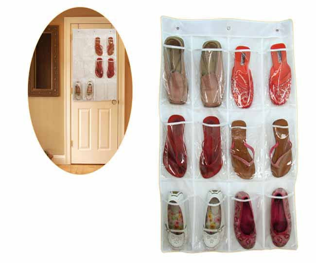 Clear pvc shoe organiser (12 pockets)