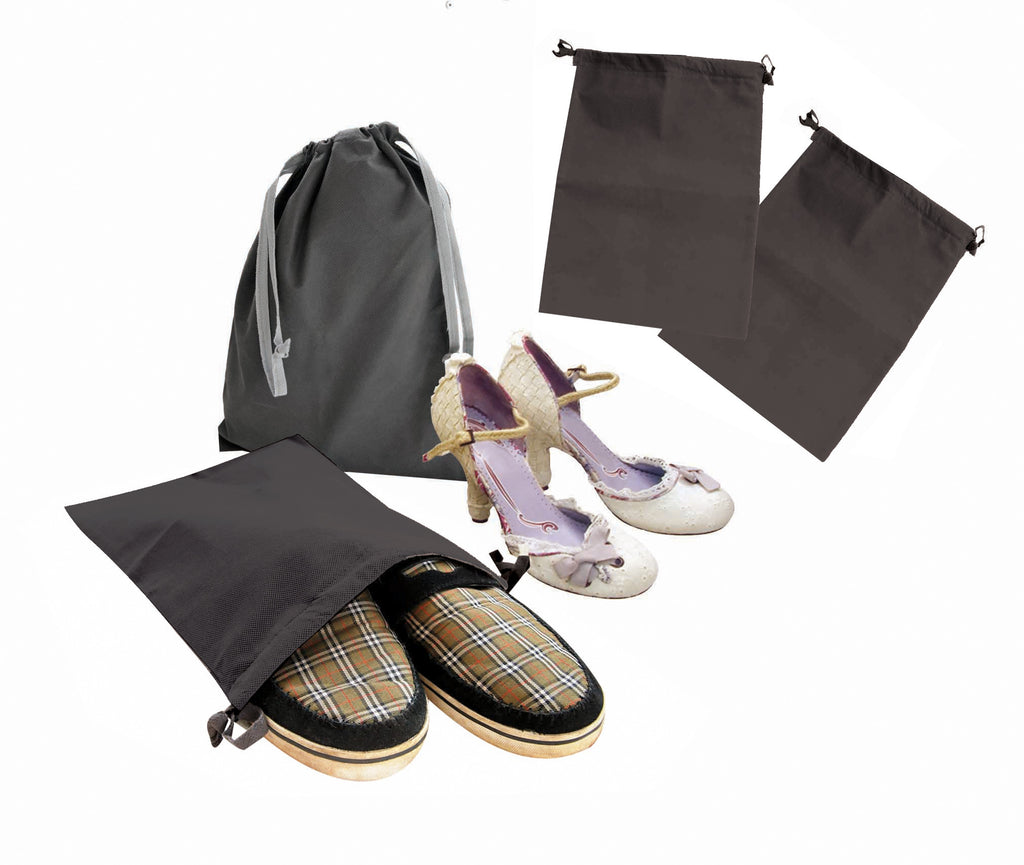Dark grey draw string shoe bag (set of 2)