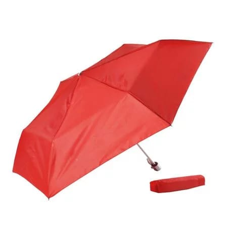 Red 3-fold aluminium frame travel umbrella
