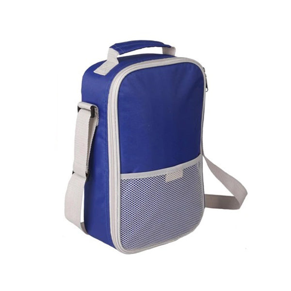 Blue with silver trim 2 person wine bag with shoulder strap and insulated compartment