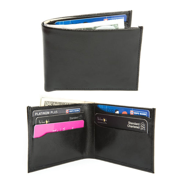 Men's black genuine leather wallet in presentation box