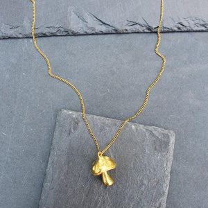 Mushroom Pendant Necklace (Gold) - Blunted Objects