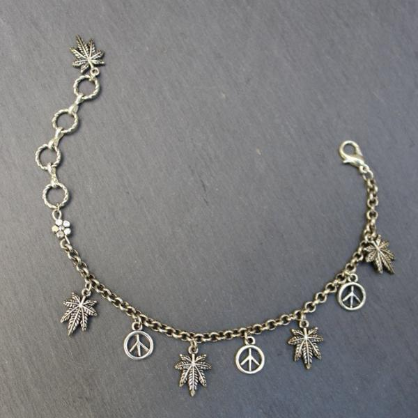 Peace and Pot Charm Bracelet (Silver) - Blunted Objects