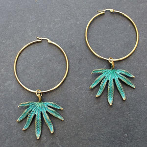Green Cannabis Leaf Statement Hoops - Blunted Objects