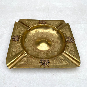 Etched Design Weed Leaf Embellished Brass Ashtray