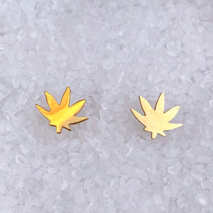 Indica Sativa Weed Leaf Stud Earrings
