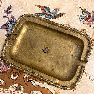 Hollywood Regency Weed Embellished Bamboo Tray