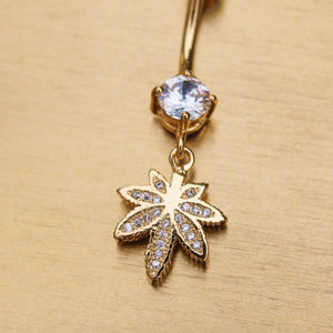 Crystal Weed Leaf Belly Ring - Blunted Objects