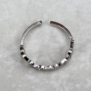 Stoned Silver Statement Ring - Blunted Objects