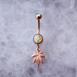 Rose Gold Weed Leaf Belly Ring - Blunted Objects