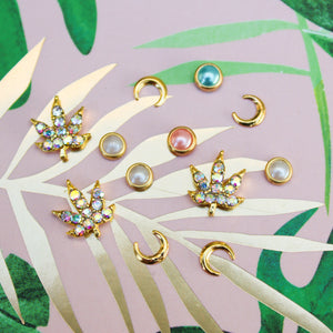 Crescent + Weed Leaf Rhinestone Nail Charm Set - Blunted Objects