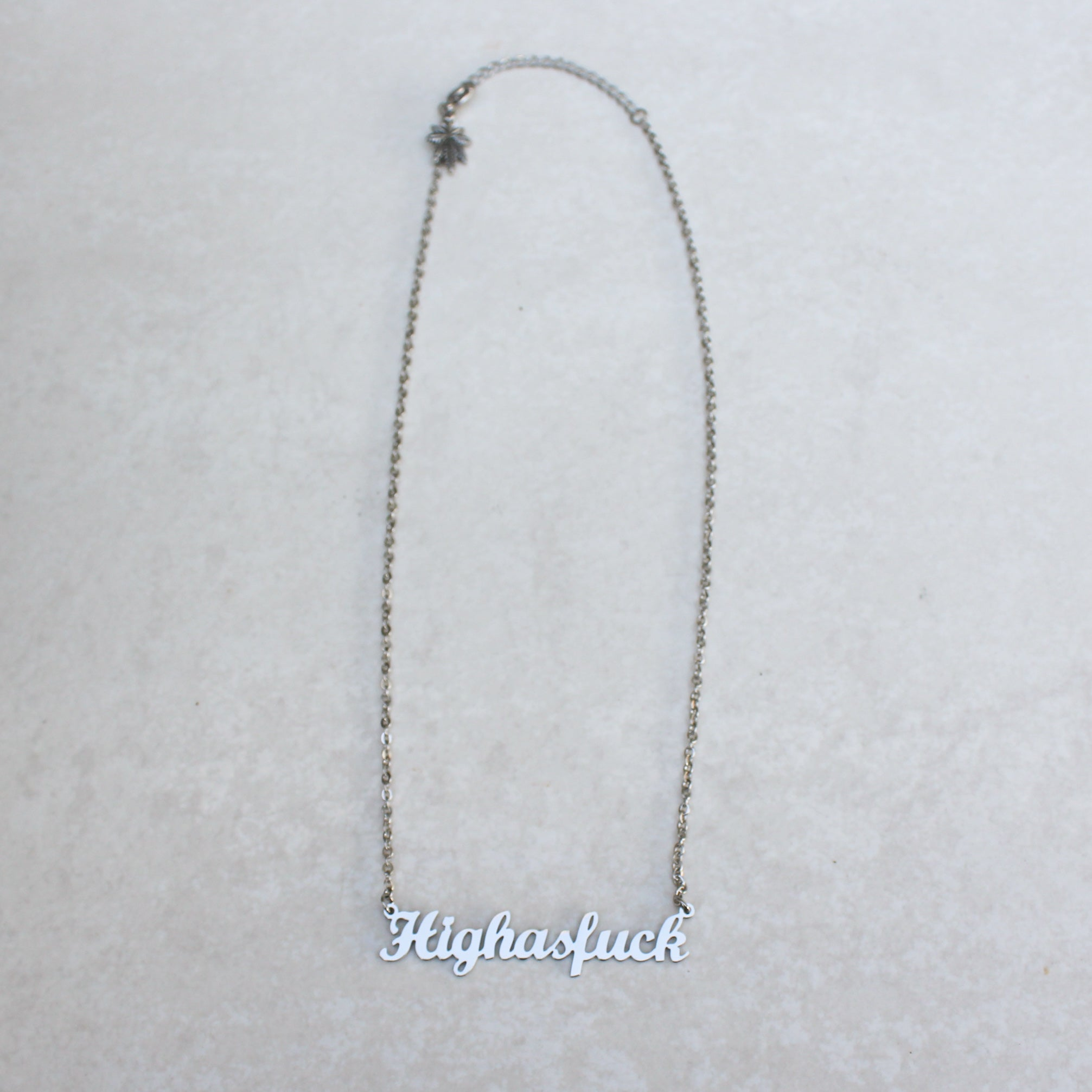 High As Fuck Silver Statement Necklace - Blunted Objects