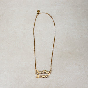 Fucking Stoned Gold Statement Necklace - Blunted Objects