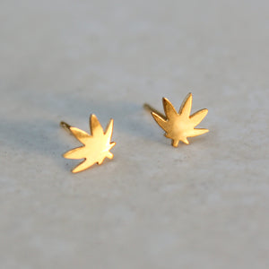 Gold Weed Leaf Delicate Earring Studs - Blunted Objects