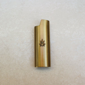 Gold Weed Leaf Embellished Lighter Case - Blunted Objects