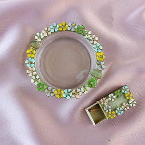 Pastel Vintage Enamel Floral Ashtray with Matchbook - Blunted Objects