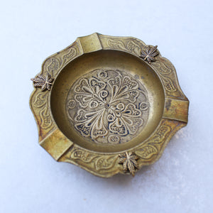 Gold Brass Design Cannabis Leaf Ashtray - Blunted Objects