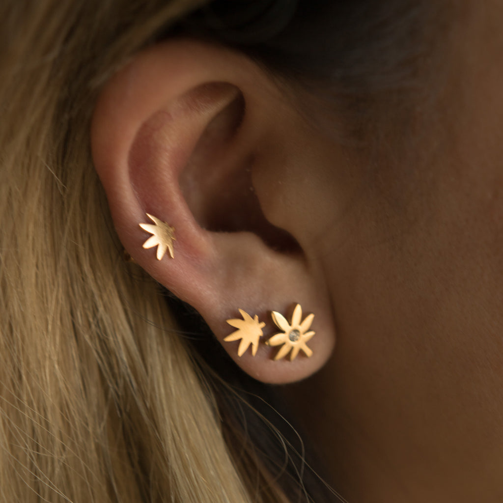 Gold Rhinestone Weed Leaf Earring Studs - Blunted Objects