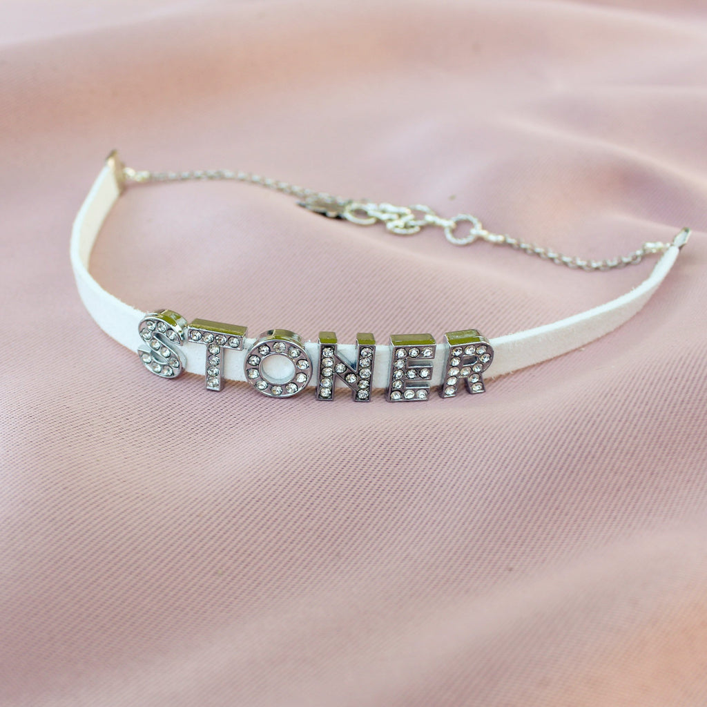 Rhinestone Stoner Faux Leather Choker - Blunted Objects