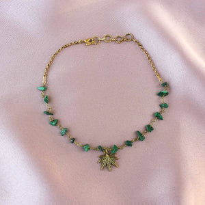 Malachite Beaded Weed Leaf Choker - Blunted Objects