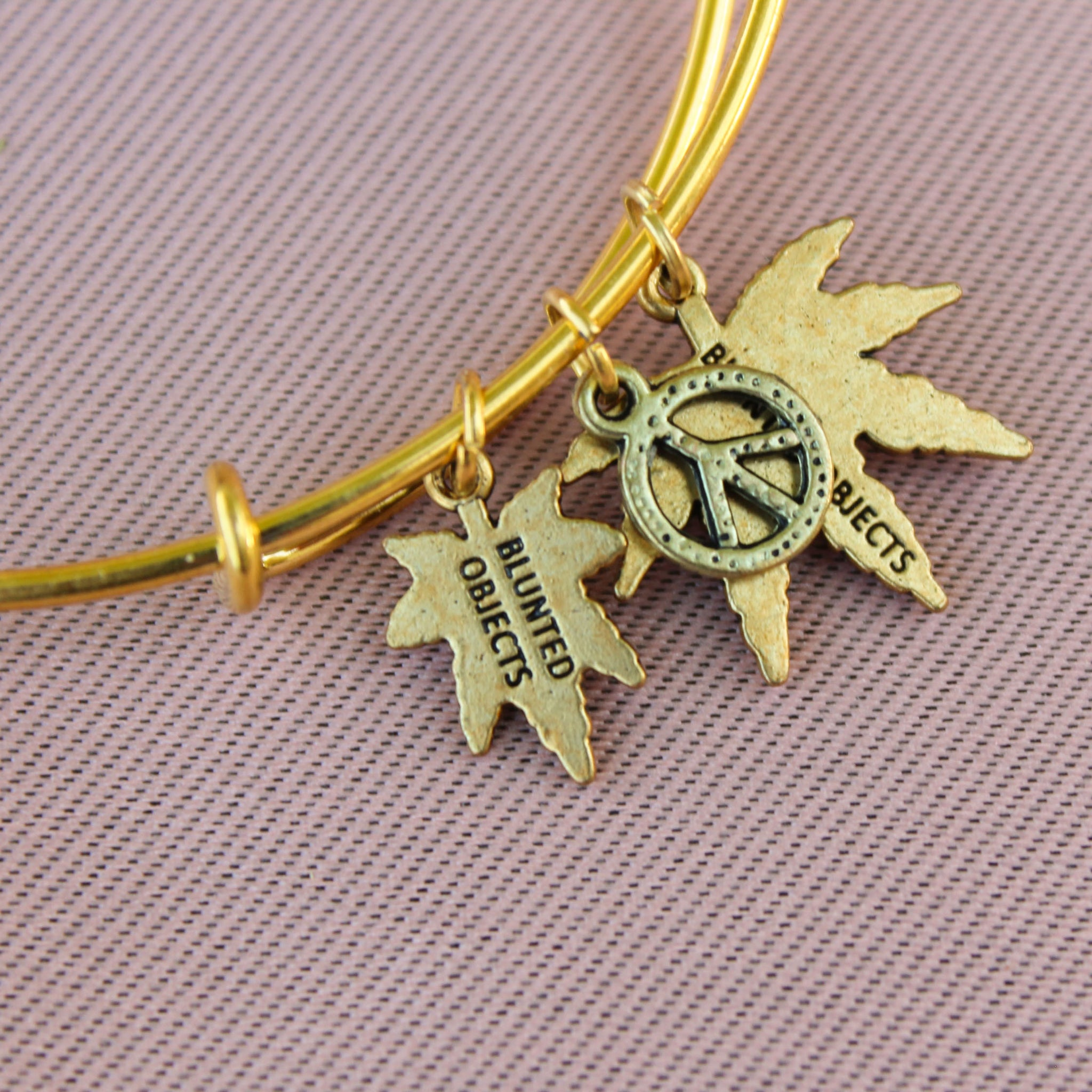 Peace and Weed Charm Wire Bangle Bracelet - Blunted Objects