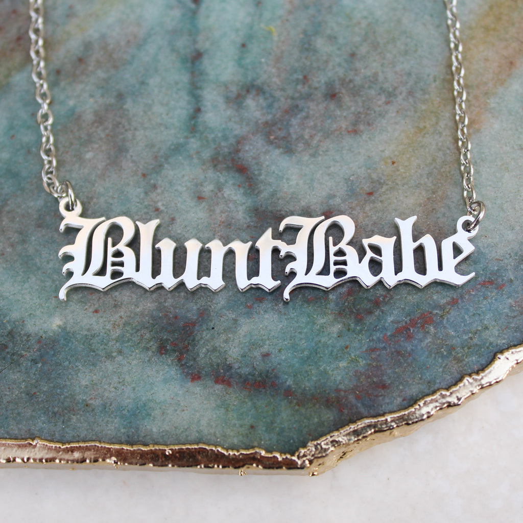 Blunt Babe Silver Nameplate Necklace - Blunted Objects