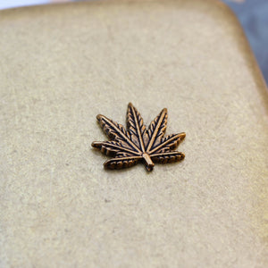 Bronze Cannabis Leaf Joint Case