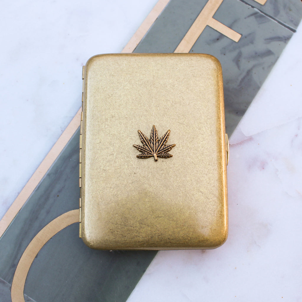 Bronze Cannabis Leaf Joint Case - Blunted Objects