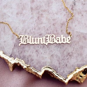 Blunt Babe Gold Nameplate Necklace - Blunted Objects