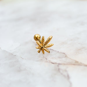 Gold Weed Leaf Tongue Ring - Blunted Objects