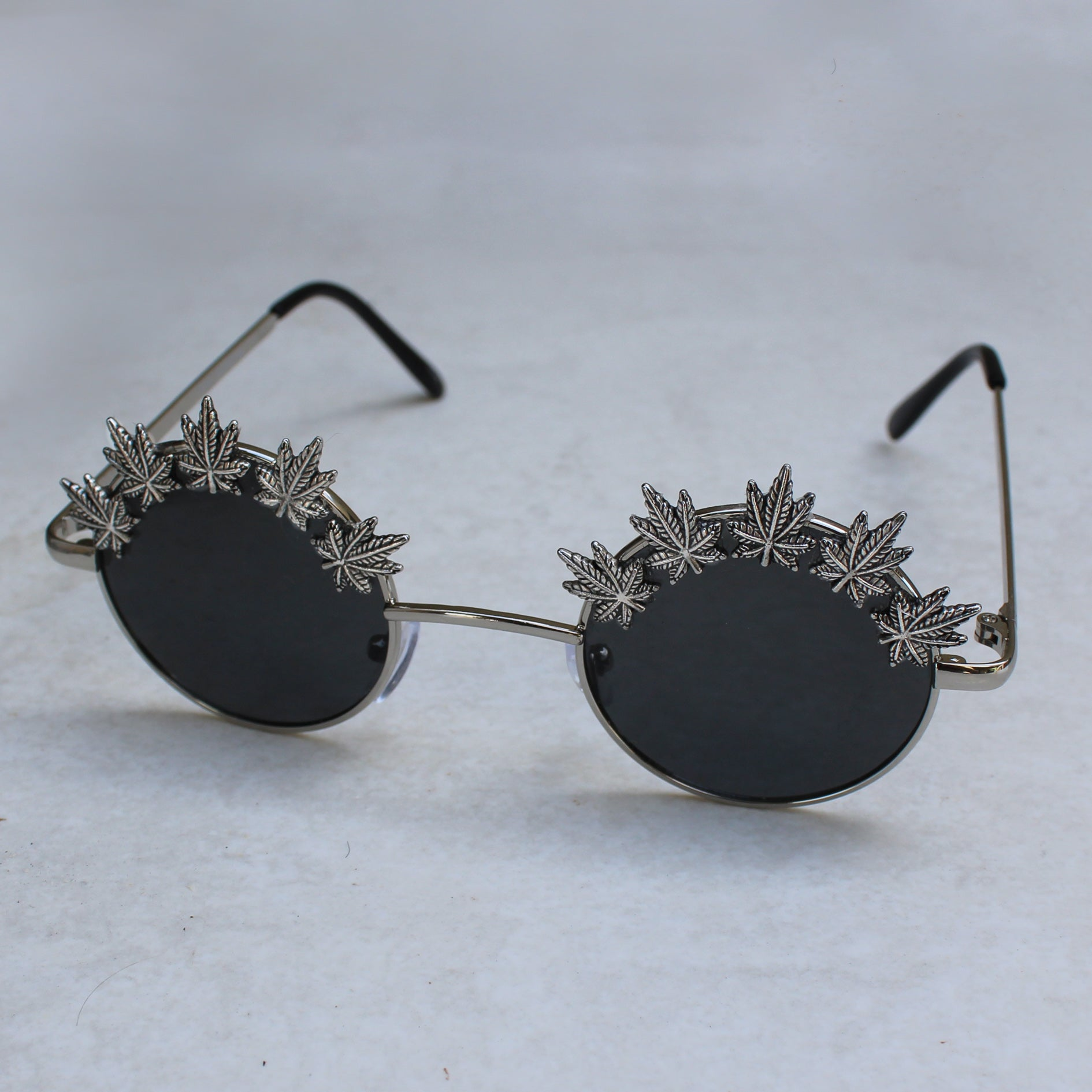 Weed Leaf Embellished Lennon Sunglasses (Silver | Blue) - Blunted Objects