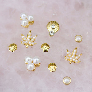 Pearl Weed Leaf Nail Charm Set - Blunted Objects