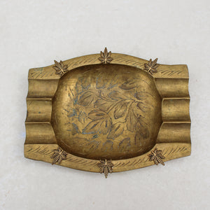 Weed Leaf Gold Etched Ashtray - Blunted Objects