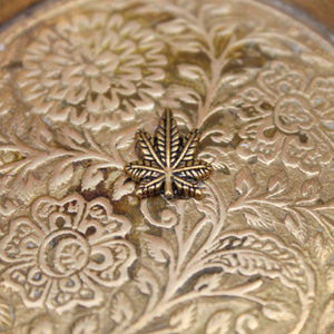 Mini Weed Leaf Floral Brass Ashtray - Blunted Objects