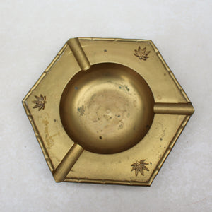 Weed Leaf Embellished Bamboo Brass Hexagonal Ashtray - Blunted Objects