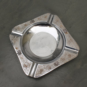Weed Leaf and Floral Silver Dipped Ashtray - Blunted Objects