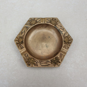 Bamboo Weed Leaf Embellished Brass Ashtray - Blunted Objects
