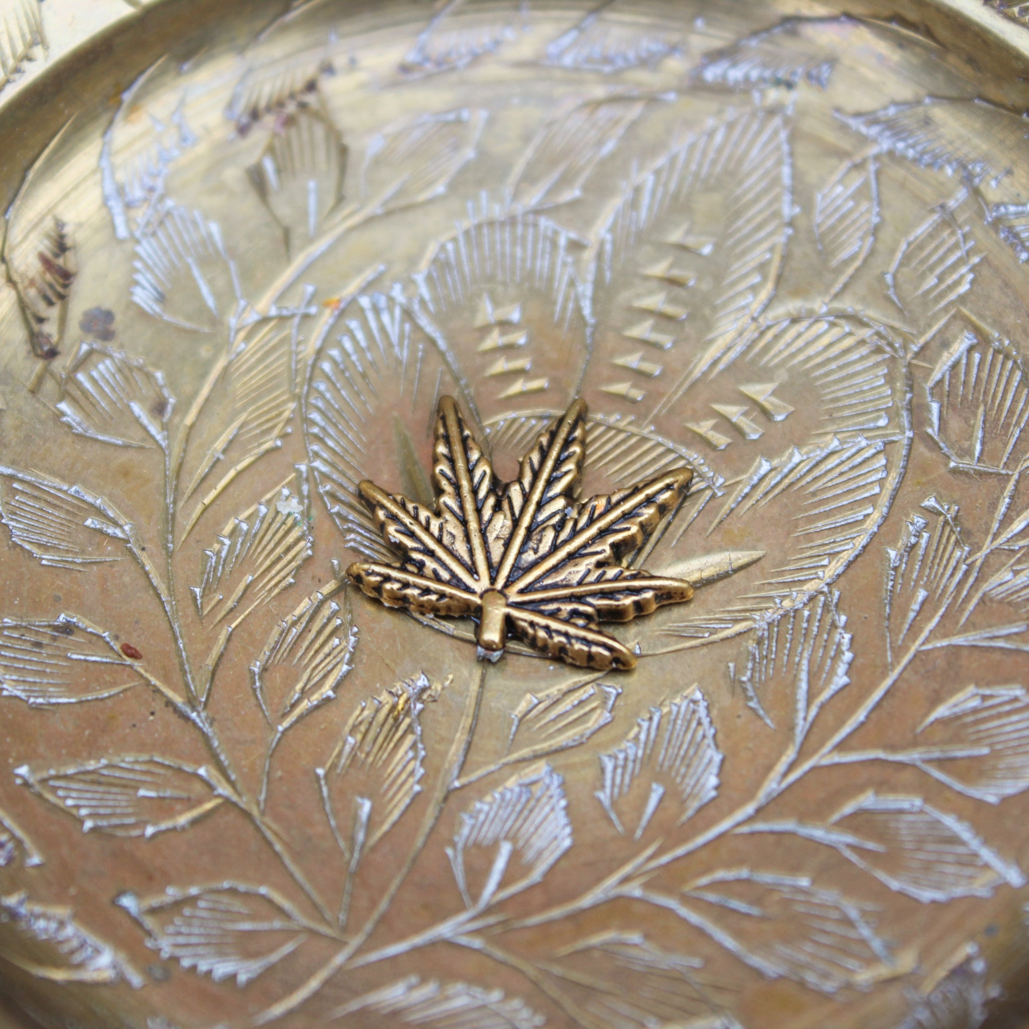 Pedestal Weed Leaf Floral Brass Ashtray - Blunted Objects