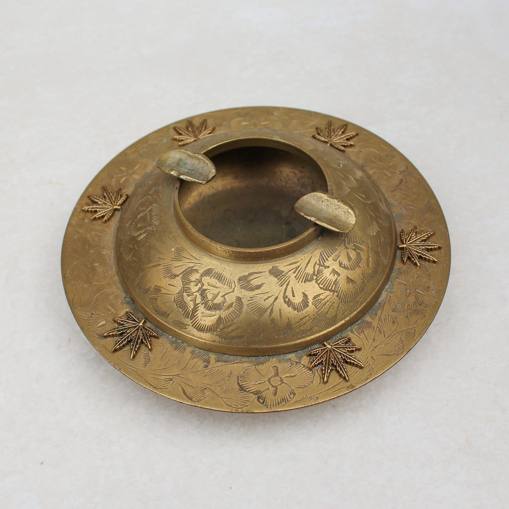 Bowl Style Weed Leaf Floral Brass Ashtray - Blunted Objects
