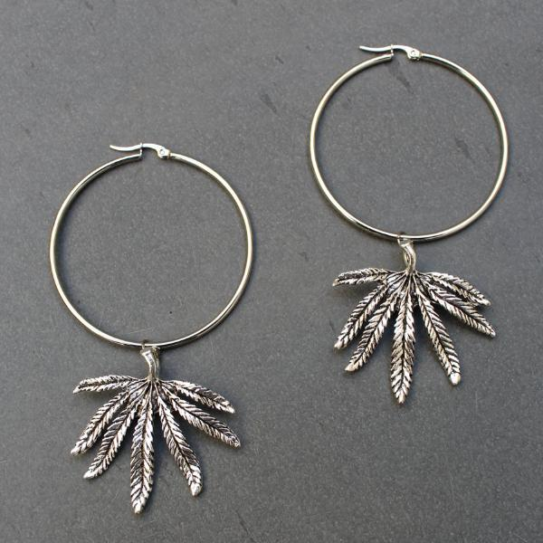 Silver Cannabis Leaf Hoops
