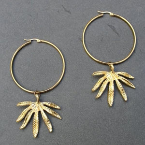 Gold Cannabis Leaf Hoops