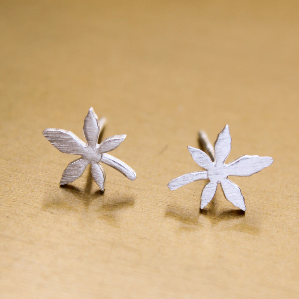 Silver Weed Leaf Delicate Earring Studs - Blunted Objects