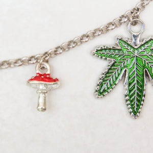 Weed and Shrooms Enamel Necklace - Blunted Objects