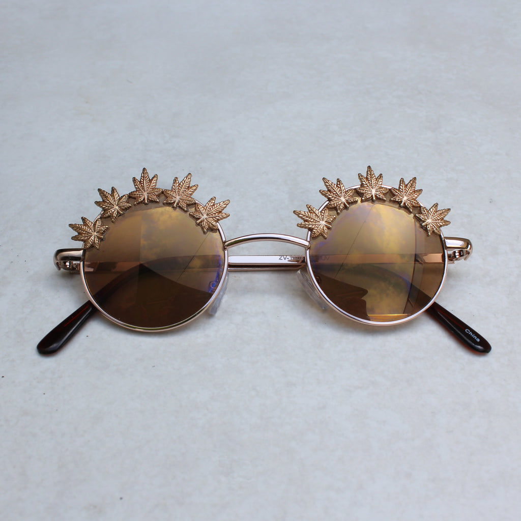 Weed Leaf Embellished Lennon Sunglasses (Gold | Brown) - Blunted Objects