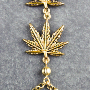 Weed Leaf Handchain (Gold) - Blunted Objects