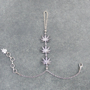 Trinity Leaf Handchain (Silver) - Blunted Objects