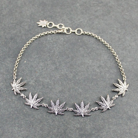 Tattoo Leaf Choker (Silver)