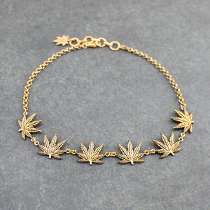 Tattoo Weed Leaf Choker (Gold) - Blunted Objects