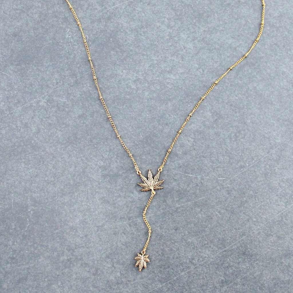 Weed Leaf Lariat (Gold) - Blunted Objects